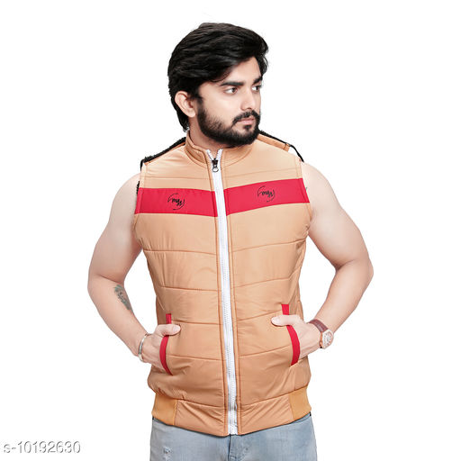 Men's Quilted Sleeveless Jacket (Peach)