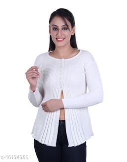 Ogarti woollen full sleeve round neck White Women's  Shrug
