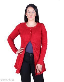 Ogarti woollen full sleeve round neck Red Women's  Shrug
