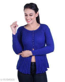 Ogarti woollen full sleeve round neck Royal Blue Women's  Shrug