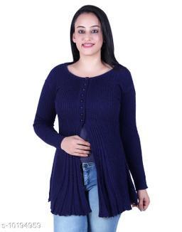 Ogarti woollen full sleeve round neck Blue colour Women's  Shrug