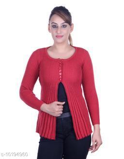 Ogarti woollen full sleeve round neck Coral Women's  Shrug