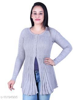 Ogarti woollen full sleeve round neck Grey colour Women's  Shrug