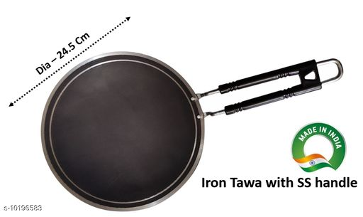 Pure Iron Iron Tawa with iron handle