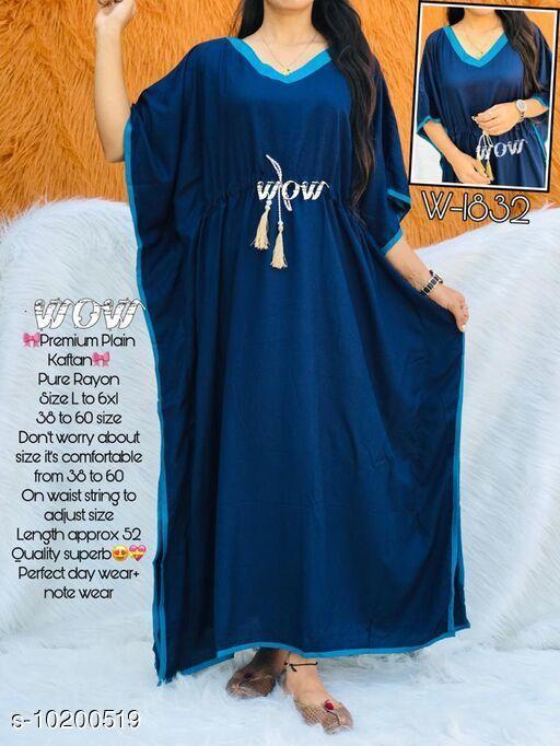 Kaftans Stylish nightwear kaftan  *Fabric* Rayon  *Sleeve Length* Three-Quarter Sleeves  *Pattern* Solid  *Multipack* 1  *Sizes*   *Free Size (Bust Size* Up to 52 in)  *Sizes Available* Free Size *    Catalog Name: Eva Stylish Women Nightdresses CatalogID_1845376 C79-SC1009 Code: 994-10200519-