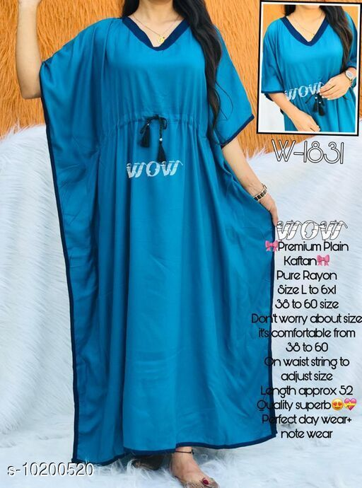 Kaftans Stylish nightwear kaftan  *Fabric* Rayon  *Sleeve Length* Three-Quarter Sleeves  *Pattern* Solid  *Multipack* 1  *Sizes*   *Free Size (Bust Size* Up to 52 in)  *Sizes Available* Free Size *    Catalog Name: Eva Stylish Women Nightdresses CatalogID_1845376 C79-SC1009 Code: 994-10200520-