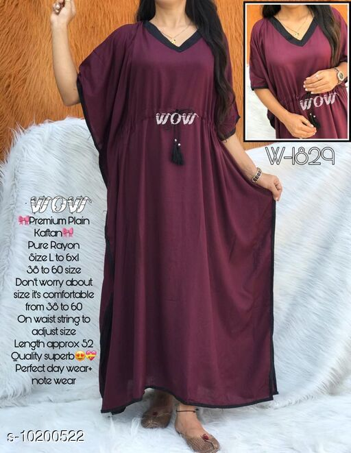 Kaftans Stylish nightwear kaftan  *Fabric* Rayon  *Sleeve Length* Three-Quarter Sleeves  *Pattern* Solid  *Multipack* 1  *Sizes*   *Free Size (Bust Size* Up to 52 in)  *Sizes Available* Free Size *    Catalog Name: Eva Stylish Women Nightdresses CatalogID_1845376 C79-SC1009 Code: 994-10200522-