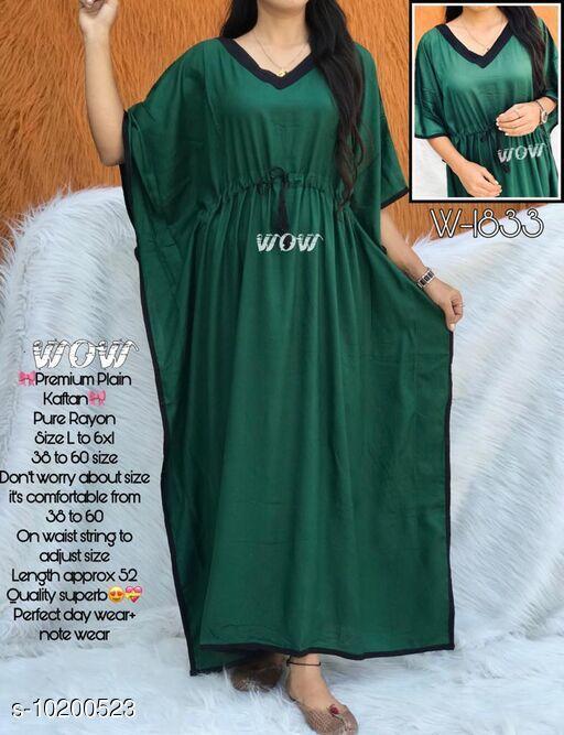 Kaftans Stylish nightwear kaftan  *Fabric* Rayon  *Sleeve Length* Three-Quarter Sleeves  *Pattern* Solid  *Multipack* 1  *Sizes*   *Free Size (Bust Size* Up to 52 in)  *Sizes Available* Free Size *    Catalog Name: Eva Stylish Women Nightdresses CatalogID_1845376 C79-SC1009 Code: 994-10200523-