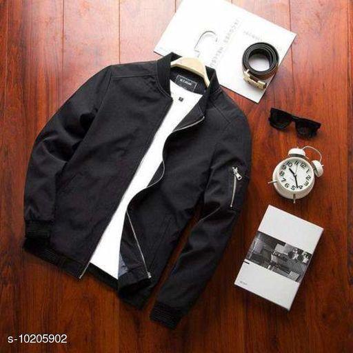 Black Solid Bomber Jacket