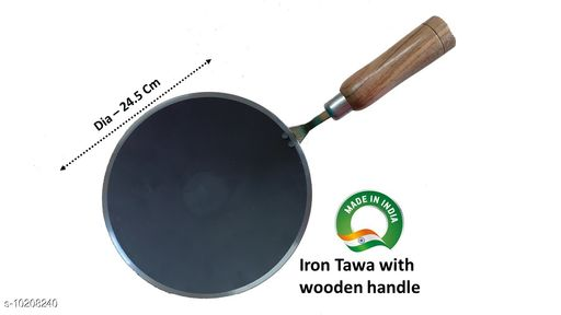 Pure Iron Iron Tawa with wooden handle handle