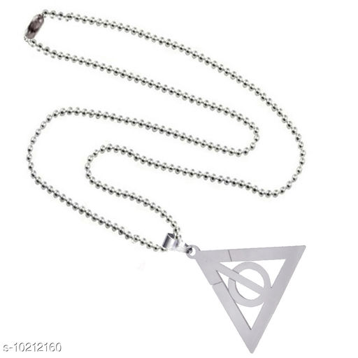 Shiv Jagdamba Harry Potter Inspired Deathly Hallows Silver Stainless Steel Triangle  Pendant Necklace For Men And Women