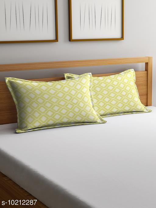 NEUDIS by Dhrohar Cotton Pillow Cover - Set of 2 -  (45 X 67 cms) - Green - Geometric