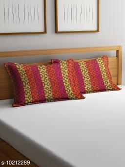 NEUDIS by Dhrohar Cotton Pillow Cover - Set of 2 -  (45 X 67 cms) - Orange - Floral