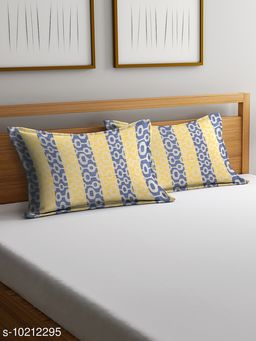 NEUDIS by Dhrohar Cotton Pillow Cover - Set of 2 -  (45 X 67 cms) - Yellow - Floral