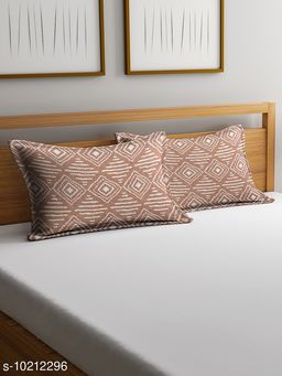 NEUDIS by Dhrohar Cotton Pillow Cover - Set of 2 -  (45 X 67 cms) - Brown - Abstract