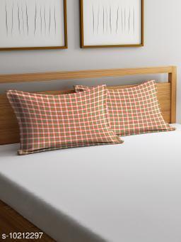 NEUDIS by Dhrohar Cotton Pillow Cover - Set of 2 -  (45 X 67 cms) - Orange - Checkered