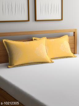NEUDIS by Dhrohar Cotton Pillow Cover - Set of 2 -  (45 X 67 cms) - Yellow - Geometric
