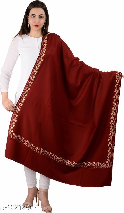 Women's Border Kashmiri Kingri with Machine Embroidery Shawl, Wraps (Maroon)