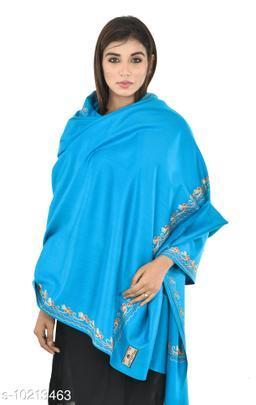 Women's Border Kashmiri Kingri with Machine Embroidery Shawl, Wraps (Firozi)