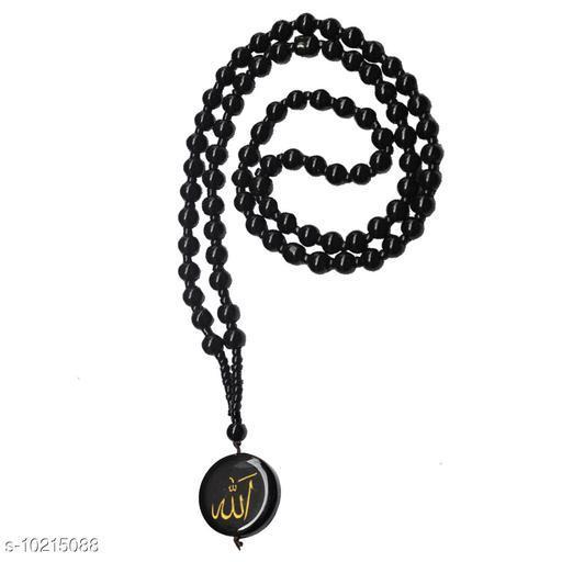 Shiv Jagdamba 6mm Crystal Bead  Arabic  Allah Circle Tone    Black  Crystal Circle Pendant Necklace For Men And Women