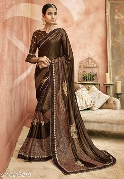 Triveni Brown Color Synthetic Party wear Embroidered Saree With Blouse Piece
