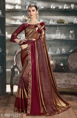 Triveni Gold Color Synthetic Party wear Embellished Saree With Blouse Piece