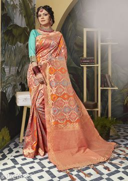 Triveni Pink Color Poly Silk Party wear Woven Design Saree With Blouse Piece