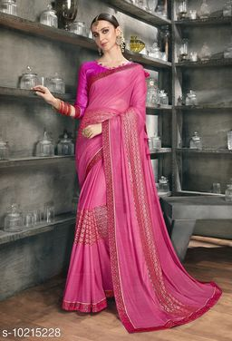 Triveni Pink Color Synthetic Party wear Embellished Saree With Blouse Piece
