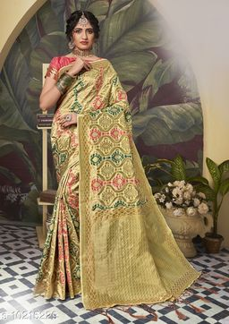 Triveni Gold Color Poly Silk Party wear Woven Design Saree With Blouse Piece