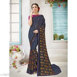 Triveni Grey Color Georgette Daily wear Printed Saree With Blouse Piece