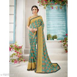 Triveni Blue Color Georgette Daily wear Printed Saree With Blouse Piece
