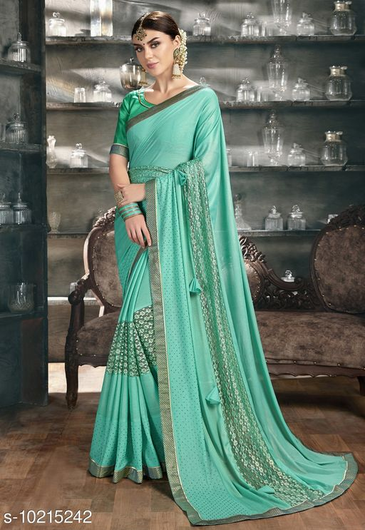Triveni Blue Color Synthetic Party wear Embellished Saree With Blouse Piece