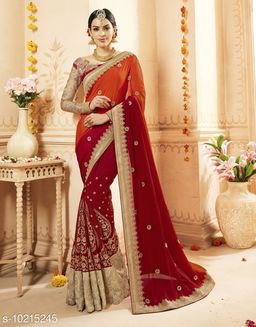Triveni Red Color Georgette Wedding wear Embroidered Saree With Blouse Piece