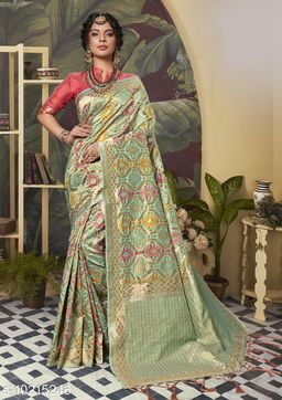 Triveni Green Color Poly Silk Party wear Woven Design Saree With Blouse Piece