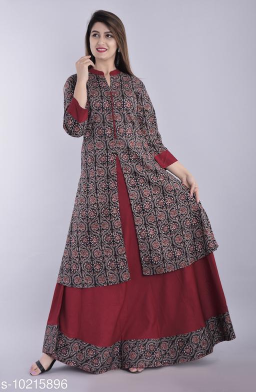 Blezza Women Kurta and Skirt Set Cotton Rayon Blend