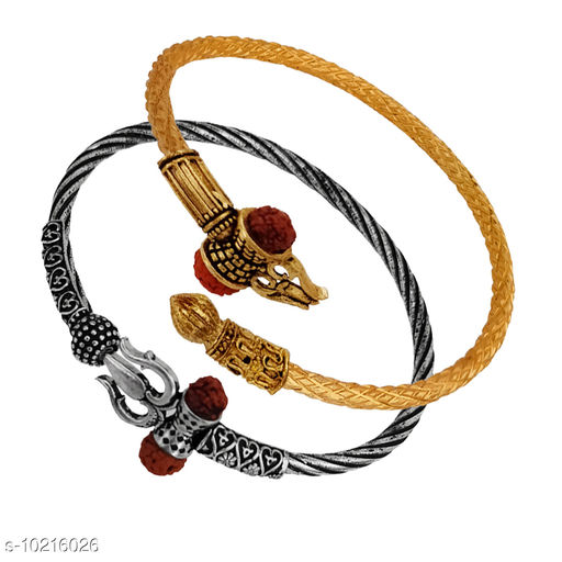 Shiv Jagdamba Designer Handcrafted Lord Shiva/Shiv Trishul Rudraksha Damroo Oxidised Silver And Silver Bahubali Kada Bracelet Bangle Free Size Combo 2pc Rakhi Cuff Kada Spiritual Jewellery for Men/Women