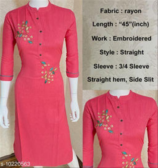 Vbuyz Women's Embellished Rayon Kurti