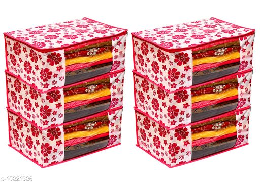 Pink Floral Printed Front Transparent Non-Woven Saree Cover Pack of 3