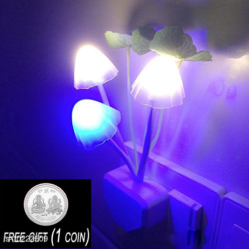 FREE 1 PCS  SILVER COLOR COIN WITH Mushroom  Shaped Color Changing  LED Night Light Lamp, with Smart Sensor Auto on-Off (White) ( 1 PCS )