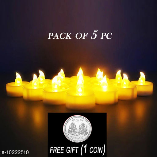 FREE 1 PCS  SILVER COLOR COIN  WITH Flameless LED Tealights, Smokeless Plastic Decorative Candles - Yellow Light ( Pack of 5 )
