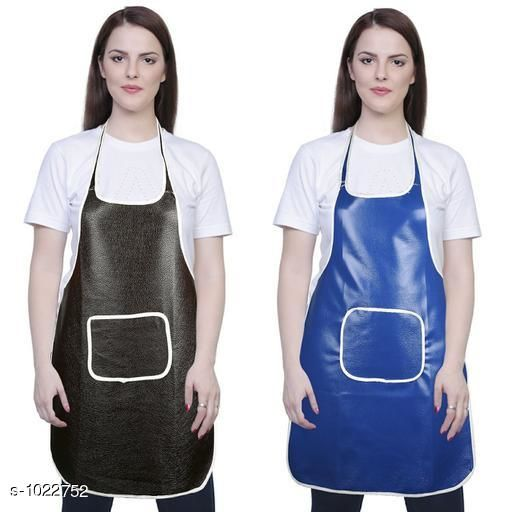 Aprons Classic Aprons ( Pack Of 2)  *Material * Apron - PVC  *Size (L x W)* Apron - 18  in x 28 in  *Description* It Has 2 Piece Of Kitchen Apron  *Pattern* Solid  *Sizes Available* Free Size *   Catalog Rating: ★4.2 (220)  Catalog Name: Hiba Lovely Aprons Combo Vol 1 CatalogID_123448 C129-SC1633 Code: 142-1022752-