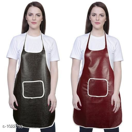 Aprons Classic Aprons ( Pack Of 2)  *Material * Apron - PVC  *Size (L x W)* Apron - 18  in x 28 in  *Description* It Has 2 Piece Of Kitchen Apron  *Pattern* Solid  *Sizes Available* Free Size *   Catalog Rating: ★4.2 (216)  Catalog Name: Hiba Lovely Aprons Combo Vol 1 CatalogID_123448 C129-SC1633 Code: 252-1022753-