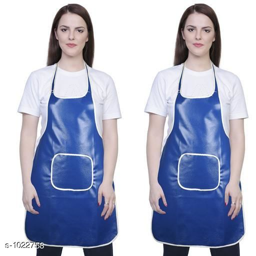 Aprons Classic Aprons ( Pack Of 2)  *Material * Apron - PVC  *Size (L x W)* Apron - 18  in x 28 in  *Description* It Has 2 Piece Of Kitchen Apron  *Pattern* Solid  *Sizes Available* Free Size *   Catalog Rating: ★4.2 (216)  Catalog Name: Hiba Lovely Aprons Combo Vol 1 CatalogID_123448 C129-SC1633 Code: 252-1022758-