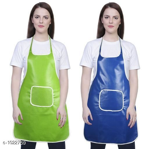 Aprons Classic Aprons ( Pack Of 2)  *Material * Apron - PVC  *Size (L x W)* Apron - 18  in x 28 in  *Description* It Has 2 Piece Of Kitchen Apron  *Pattern* Solid  *Sizes Available* Free Size *   Catalog Rating: ★4.2 (210)  Catalog Name: Hiba Lovely Aprons Combo Vol 1 CatalogID_123448 C129-SC1633 Code: 142-1022759-