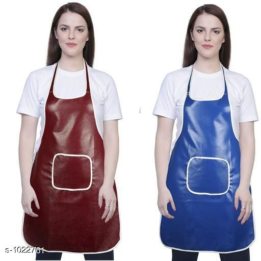 Aprons Classic Aprons ( Pack Of 2)  *Material * Apron - PVC  *Size (L x W)* Apron - 18  in x 28 in  *Description* It Has 2 Piece Of Kitchen Apron  *Pattern* Solid  *Sizes Available* Free Size *   Catalog Rating: ★4.2 (220)  Catalog Name: Hiba Lovely Aprons Combo Vol 1 CatalogID_123448 C129-SC1633 Code: 142-1022761-