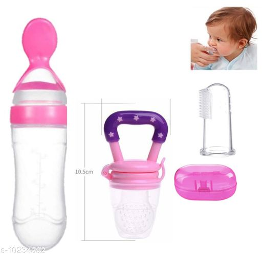 Tiny Tycoonz Silicone Baby Feeding Bottle, Silicone Food/Fruit Pacifier and Silicone Baby Tongue Cleaner