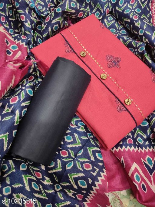 Kiran Designer Flex Cotton Unstich Dress Materials With Jaipuri Duppta