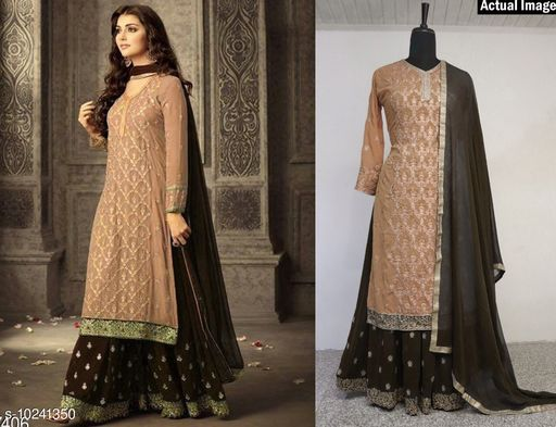 Ethnic Bottomwear - Salwars & Chudidars  Attractive Semi-Stitched Suits  *Top Fabric* Georgette  *Bottom Fabric* Shantoon  *Dupatta Fabric* Nazneen  *Pattern* Embroidered  *Multipack* Single  *Sizes*   *Semi Stitched (Top Bust Size* Up To 44 in, Top Length Size  *Sizes Available* Un Stitched, Free Size, Semi Stitched *    Catalog Name:  Attractive Semi-Stitched Suits CatalogID_1855405 C74-SC1017 Code: 2431-10241350-