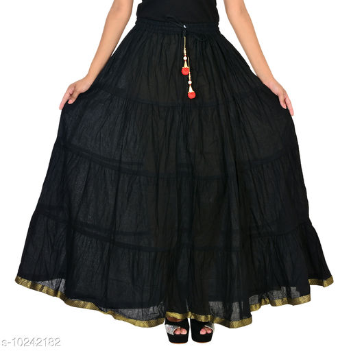 Womens Cotton Solid Tiered long Skirt for women/Girls