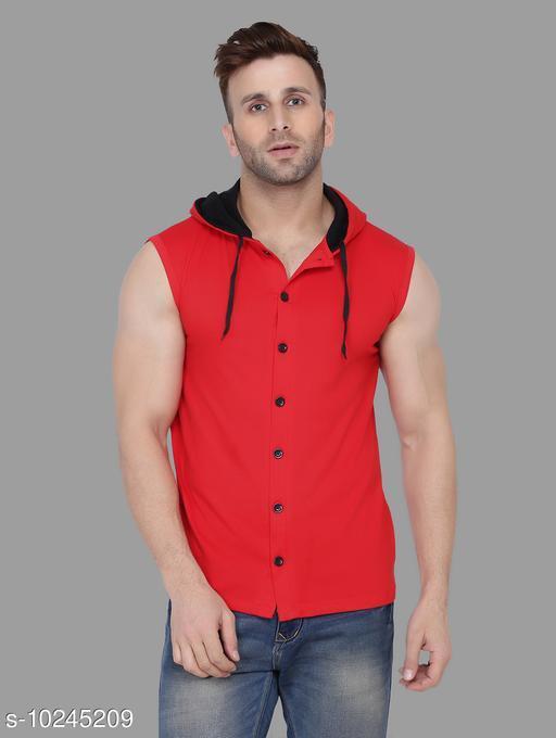 Blisstone Hood neck Sleeveless Shirt Red